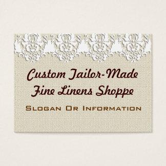 Custom Vintage Linen Large Business Cards