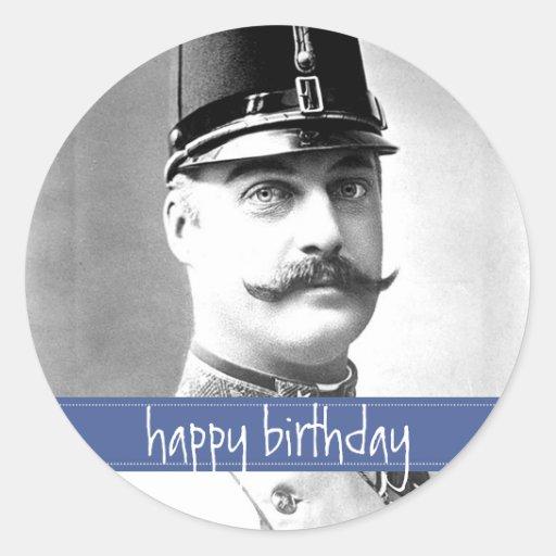 Custom Vintage Mustache / Moustache Birthday Round Sticker