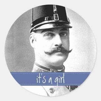 Custom Vintage Mustache Moustache It s a Girl Stickers