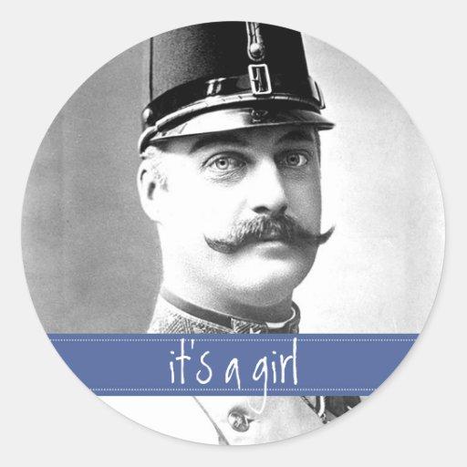 Custom Vintage Mustache / Moustache It's a Girl Stickers