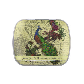 Custom Vintage Peacock Wedding Favor Tin Jelly Belly Candy Tins