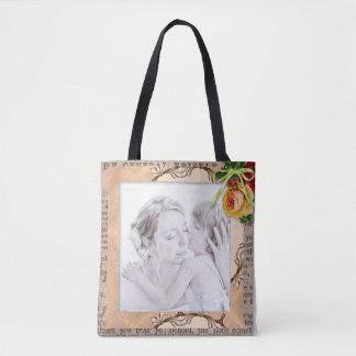 Custom Vintage Photo Frame Tote Bag for Mother