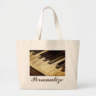 Custom Vintage Piano Keys Jumbo Tote Bag