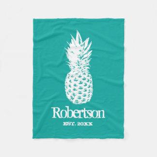 Custom vintage pineapple turquoise fleece blanket
