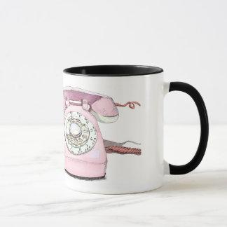 Custom Vintage Pink Telephone Art Print Mug