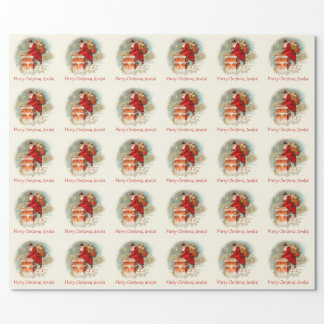 Custom Vintage Santa Claus Merry Christmas Wrapping Paper