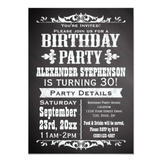 Custom Vintage Slate Chalkboard Birthday Party 11 Cm X 16 Cm Invitation Card