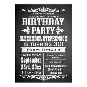 Mens 30th birthday invitations zazzle custom vintage slate chalkboard birthday party invitation stopboris Gallery