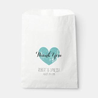 Custom vintage teal heart paper wedding favor bags favour bags