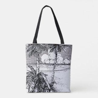 Custom Vintage Tropical Beach Etching Tote Bag