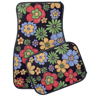 Custom Vivid Colorful Flowers Pattern Print Car Mat