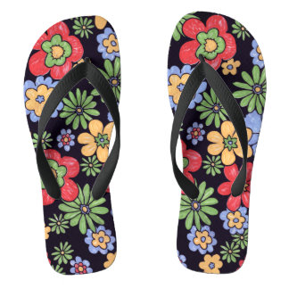 Custom Vivid Colorful Flowers Thongs