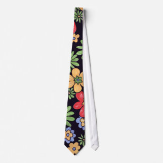 Custom Vivid Colorful Flowers Tie