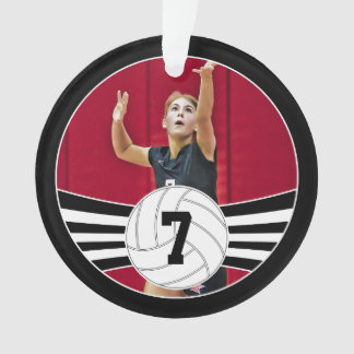Custom Volleyball Photo & Text Christmas Ornament