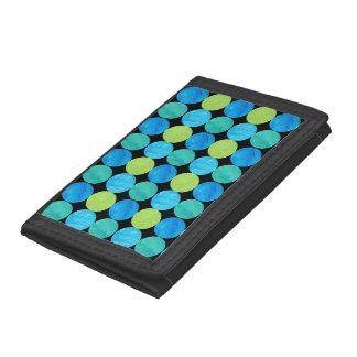 Custom Wallet, Blue Moons Grid Pattern on Black Trifold Wallet