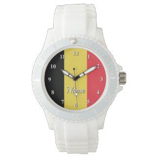 Custom watch with Belgian flag of Belgium
