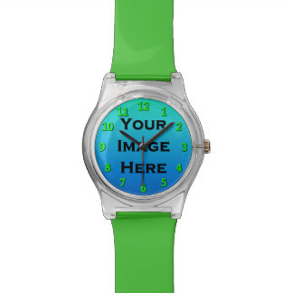 Custom Watch With Lime Green Numbers Drop Shadow