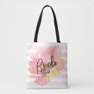 Custom Watercolor Blush Peach Floral Bride Tote Bag
