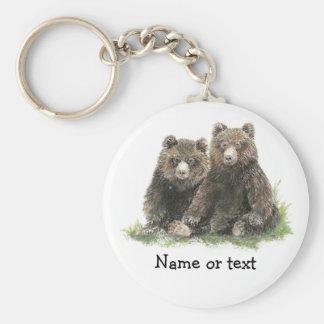 Custom Watercolor Cute Bears Key Ring