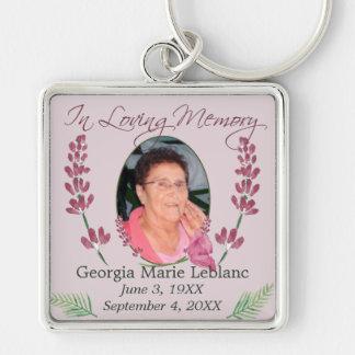 Custom Watercolor Lavender Memorial Keepsakes Silver-Colored Square Key Ring
