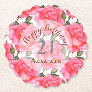 Custom Watercolor Pink Rose Birthday Coaster