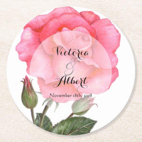 Custom Watercolor Pink Rose Wedding Coaster