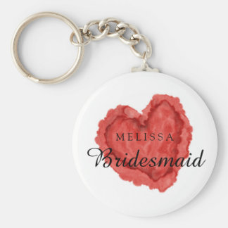 Custom Watercolor Red Heart Bridesmaid Basic Round Button Key Ring