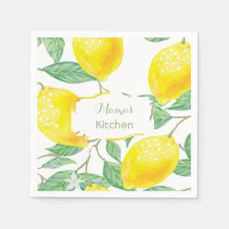 Custom watercolored yellow lemons on white text disposable napkins