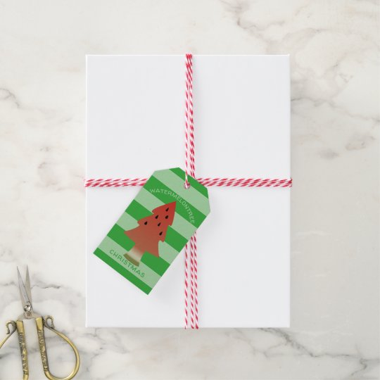 Custom Watermelon Christmas Tree Striped Gift Tags