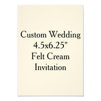 "Custom Wedding 4.5x6.25""  Felt Cream Invitation"