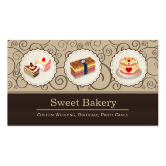 Custom Wedding Birthday Party Cakes Pastry Bakery Pack Of Standard Business Cards