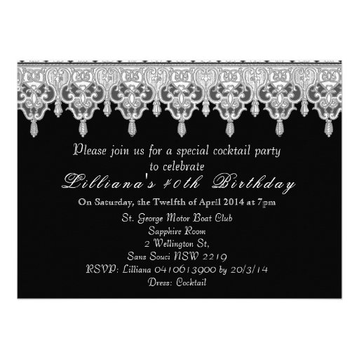 custom wedding black lace announcements