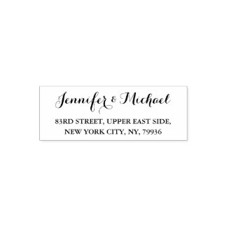 Custom Wedding Bride Groom Name Return Address Self-inking Stamp