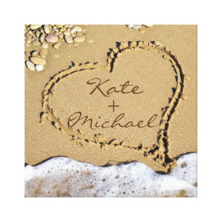 Custom Wedding Canvas Heart on the Shore Canvas Print