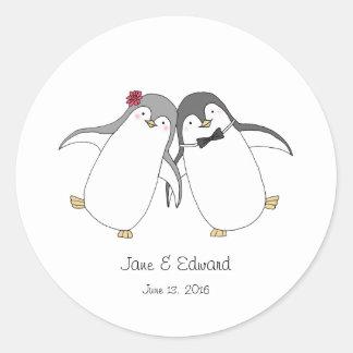 Custom Wedding Favor Sticker Cute Penguins Couple