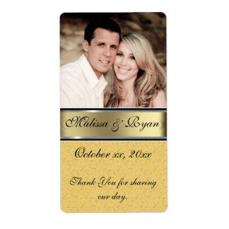 Custom Wedding Gold Wine Label Add Your  Photo Shipping Label