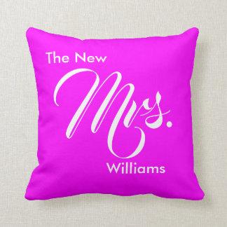 Custom Wedding Magenta The New Mrs. Throw Pillow