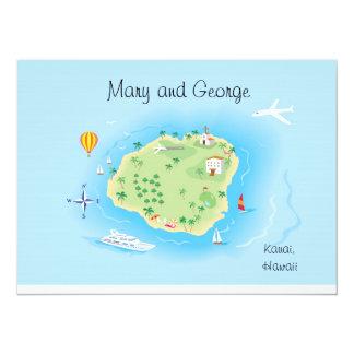 "Custom Wedding Map Art (ask first) 5.5"" x 7.5"" 14 Cm X 19 Cm Invitation Card"