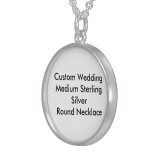 Custom Wedding Med Sterling Silver Round Necklace