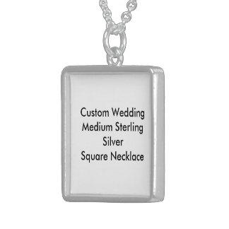 Custom Wedding Med Sterling Silver Square Necklace