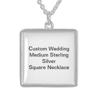 Custom Wedding Med Sterling Silver Square Necklace