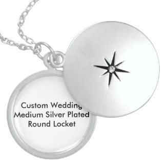 Custom Wedding Medium Silver Plated Round Locket