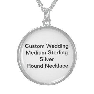 Custom Wedding Medium SterlingSilver RoundNecklace Round Pendant Necklace