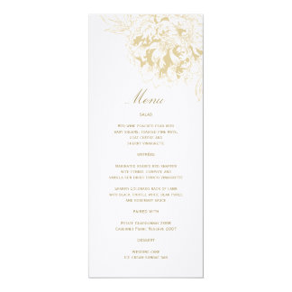 "Custom Wedding Menu Card | Floral Peony Design 4"" X 9.25"" Invitation Card"