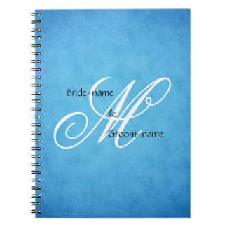 Custom Wedding Monogram Blue Vintage Style Note Books