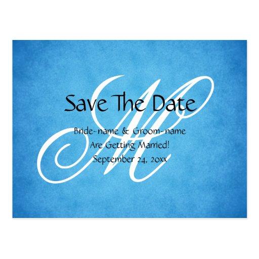 Custom Wedding Monogram Blue Vintage Style Post Card