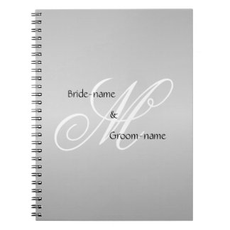 Custom Wedding Monogram Gray Black and White Spiral Note Books