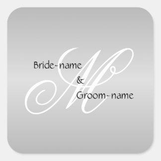 Custom Wedding Monogram Gray Black and White Square Sticker