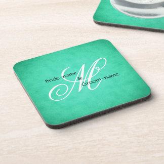 Custom Wedding Monogram Green Vintage Style Drink Coasters