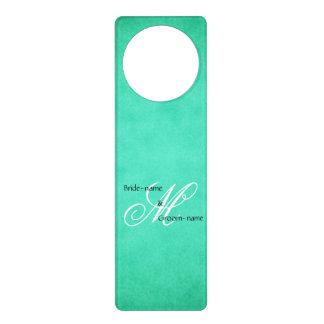 Custom Wedding Monogram Green Vintage Style Door Hangers